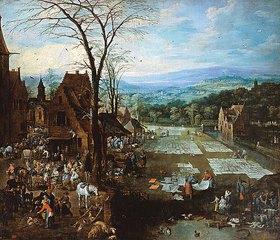 Joos de Momper d.J.: Markttreiben und Wäsche waschende Frauen am Rande einer flandrischen Stadt