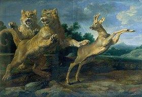 Frans Snyders: Zwei junge Löwen verfolgen einen Rehbock