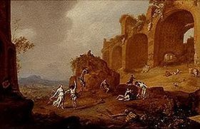 Bartholomeus Breenbergh: Ruinenlandschaft mit tanzendem Faun