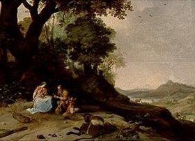 Bartholomeus Breenbergh: Landschaft mit Ruhe auf der Flucht
