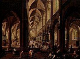 Pieter Neefs d.Ä.: Das Innere der Kathedrale von Antwerpen. (Staffage von Frans Francken III.)