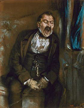 Adolph von Menzel: Gähnender Herr im Eisenbahncoupé