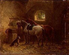 Reinhold Braun: Pferde im Stall