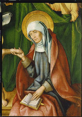 Hans Holbein d.Ä.: Katharinen-Altar. Detail aus dem rechten Flügel (Hl.Anna Selbdritt): Die hl.Anna