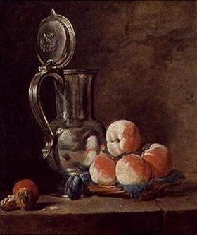 Jean-Baptiste Siméon Chardin: Stilleben mit Zinnkrug und Pfirsichen