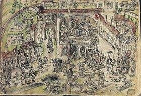 Handschrift: Die Plünderung des Klosters Weissenau. Federzeichnung von Jakob Murner