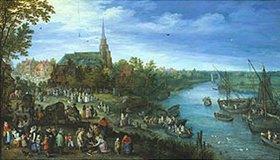 Jan Brueghel d.Ä.: Dorf am Fluß