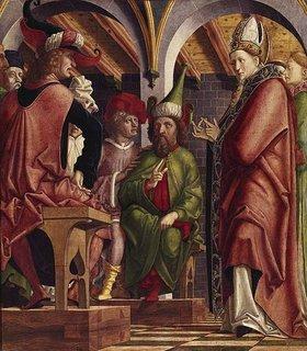 Michael Pacher: Kirchenväteraltar. Um 1480. Li.Flügel außen: Disputation des hl.Augustinus