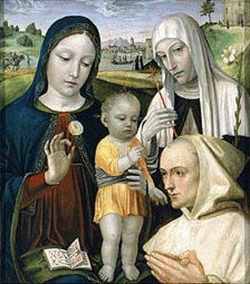 Bergognone (Ambrogio di Stefano da Fossano): Die Hl. Jungfrau mit dem Kind und der Hl. Katharina von Siena