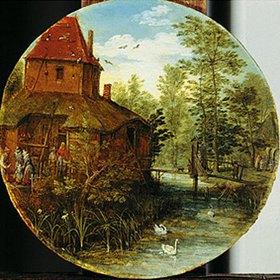 Jan Brueghel d.Ä.: Landschaft (Gehöft am Bach)