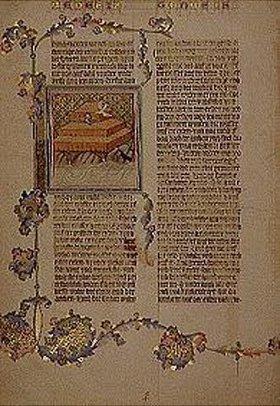 Handschrift: Miniatur aus der Wenzelsbibel (Codices Vendobonensis) fol.8.verso: Noah in der
