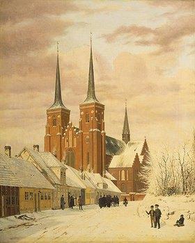 Jörgen Pedersen Roed: Winterszene in Roskilde mit dem Dom