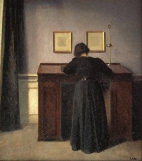 Vilhelm Hammershoi: Frau, an einem Stehpult schreibend
