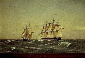 Christoffer W Eckersberg: Begegnung zweier Segler auf dem Meer (Et mode paa soen)