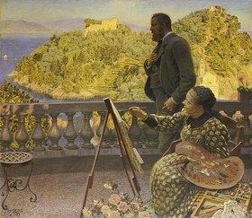 Kristian Zahrtmann: Friedrich III. und seine Gemahlin auf der Terrasse der Villa Carnavon