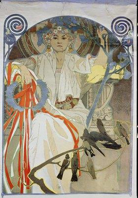 Alfons Mucha: Plakat für das Gesangs- und Musikfest Frühling 1914 in Prag