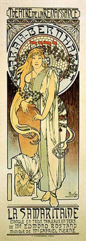 Alfons Mucha: Plakat für das Schauspiel La Samaritaine von Edmond Rostand