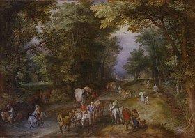 Jan Brueghel d.Ä.: Belebte Waldstrasse