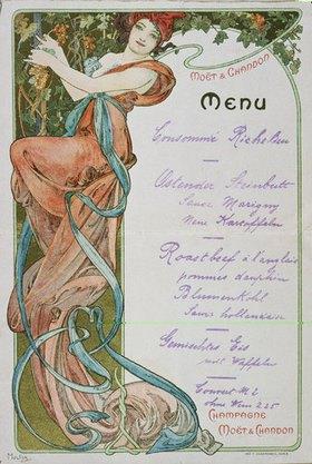 Alfons Mucha: Speisekarte für Moët et Chandon