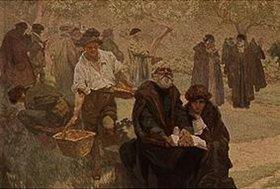 Alfons Mucha: Der Blinde mit der Bibel. Detail aus dem Gemälde Der Druck der Bibel von