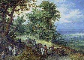 Jan Brueghel d.Ä.: Landschaft mit Gepäckzug
