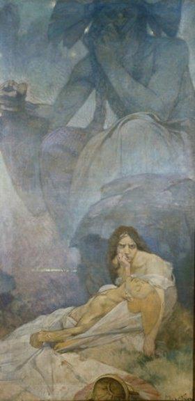 Alfons Mucha: Tragödie. Entwurf für eine Dekoration des deutschen Theaters in New York