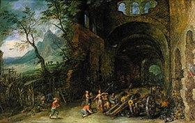 Jan Brueghel d.Ä.: Thetis und Achill in der Schmiede des Vulkan