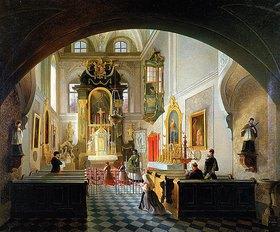 Vincenco Abbati: Inneres einer Kapelle