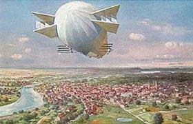Anonym: Lenkbares Luftschiff über einer Stadt mit Fluss