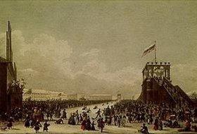 Karl Petrowitsch Beggrow: Wintervergnügen auf der Zarizyn-Wiese um 1820. Lithochromie nach einer Zeich