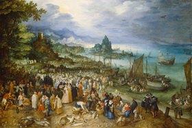 Jan Brueghel d.Ä.: Seehafen mit Predigt Christi