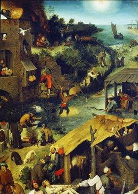 Pieter Brueghel d.Ä.: Die niederländischen Sprichwörter (Detail rechts oben)