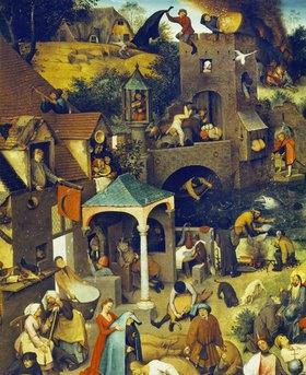 Pieter Brueghel d.Ä.: Die niederländischen Sprichwörter (Detail Mitte oben)