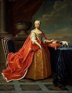 Peter Jakob Horemans: Maria Anna Caroline, Herzogin von Bayern mit einem Kurzhaar-Terrier