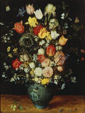 Jan Brueghel d.Ä.: Blumenstrauß in einer blauen Vase