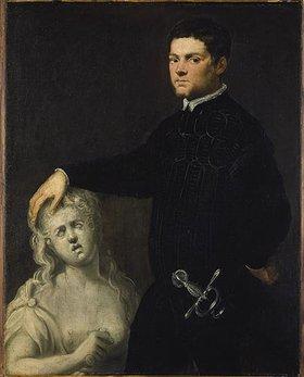 Tintoretto (Jacopo Robusti): Bildnis eines vornehmen Jünglings mit einer Skulptur der Lukretia