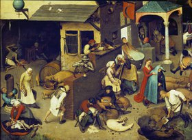 Pieter Brueghel d.Ä.: Die niederländischen Sprichwörter. (Detail links unten)