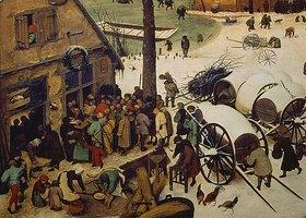 Pieter Brueghel d.Ä.: Die Volkszählung zu Bethlehem. 1566. Detail links unten (Die Zählung)