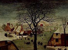 Pieter Brueghel d.Ä.: Die Volkszählung zu Bethlehem. 1566. Detail links oben (Baumkrone und rote