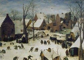 Pieter Brueghel d.Ä.: Die Volkszählung zu Bethlehem. 1566. Detail oben rechts