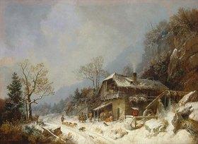 Heinrich Bürkel: Winterlandschaft an einer Schmiede