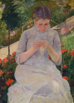 Mary Cassatt: Junge strickende Frau im Garten