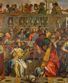 Paolo (Paolo Caliari) Veronese: Die Hochzeit zu Kanaa. Um 1570. Detail: Gruppe von Musikanten