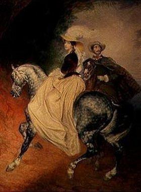 Karl Brüllow: Bildnis J.I.Mjussora und E.Mjussar zu Pferde