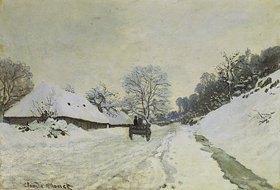 Claude Monet: Wagen auf verschneiter Strasse in Honfleur. Gegen