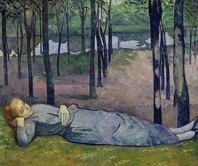 Emile Bernard: Madeleine, die Schwester des Künstlers, im Parc d'Amour am Aven