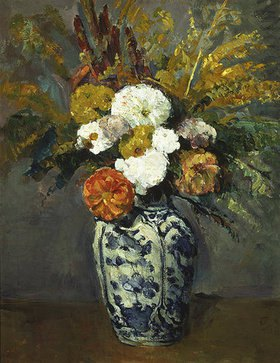 Paul Cézanne: Dahlienstrauss in Porzellanvase