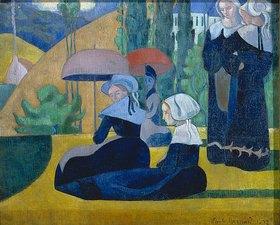 Emile Bernard: Bretonische Frauen mit Sonnenschirmen. 1892