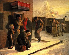 Leonid Solomatkin: Vor einer russischen Kneipe im Winter
