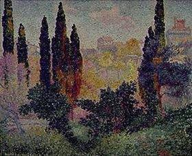 Henri Edmond Cross: Die Zypressen von Cagnes